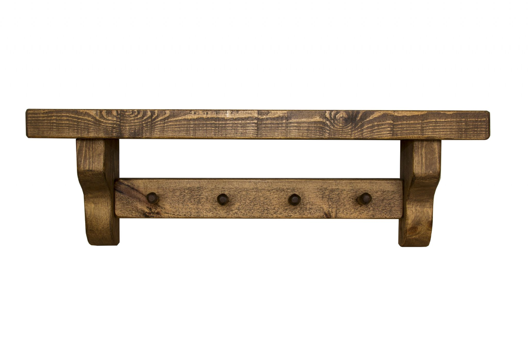 Rustic wooden shelf with coat pegs.