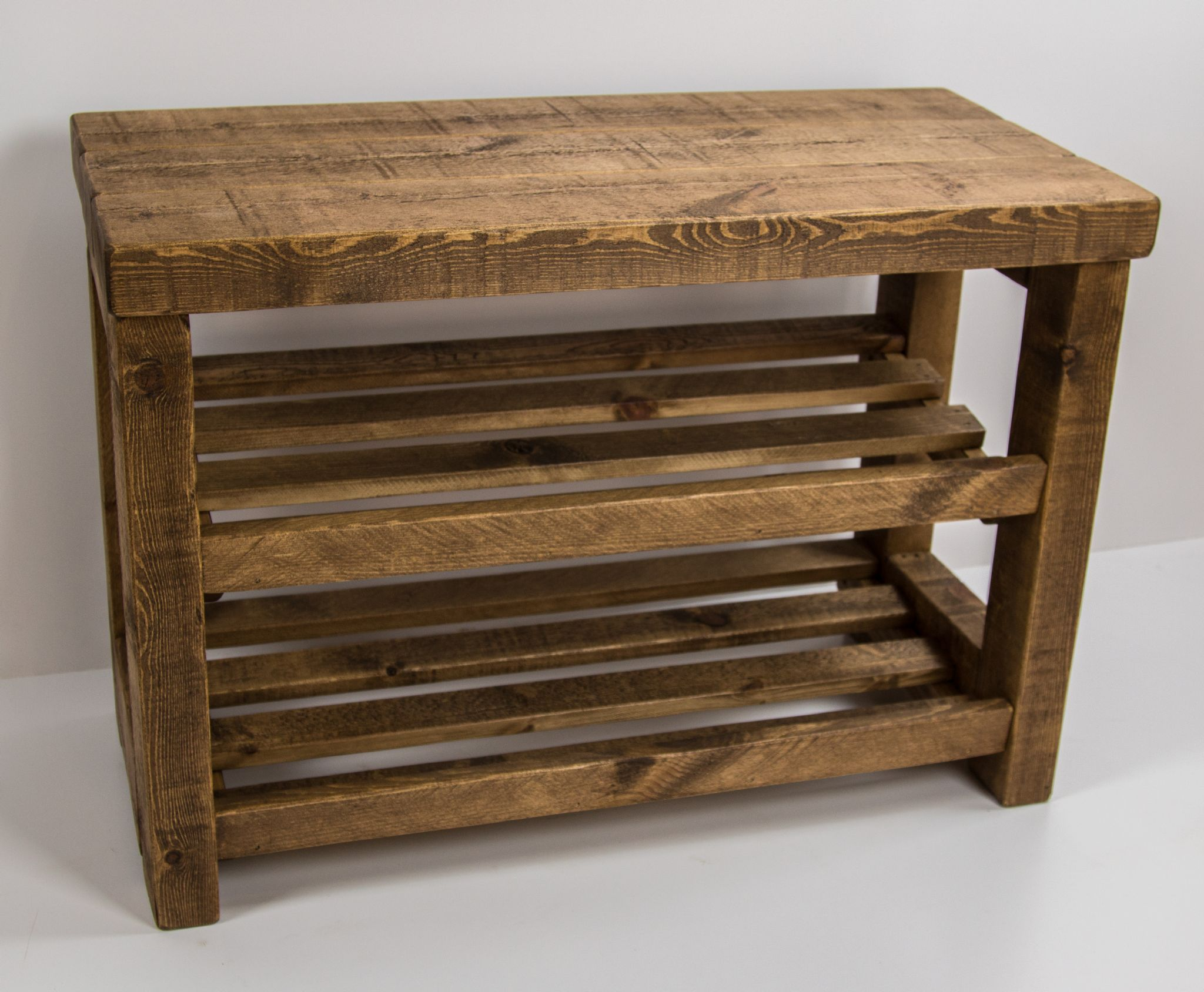 Rustic wooden shoe rack with seat 6 - 9 pairs