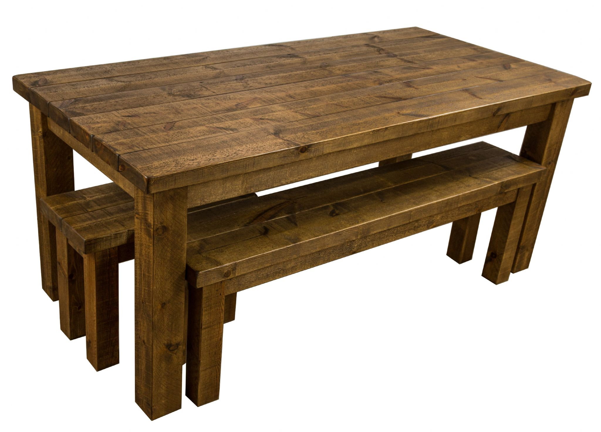 Tortuga Rustic 6x3 wooden farmhouse dining table with 2 benches