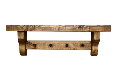 Rustic Wooden Shelf With Coat Pegs