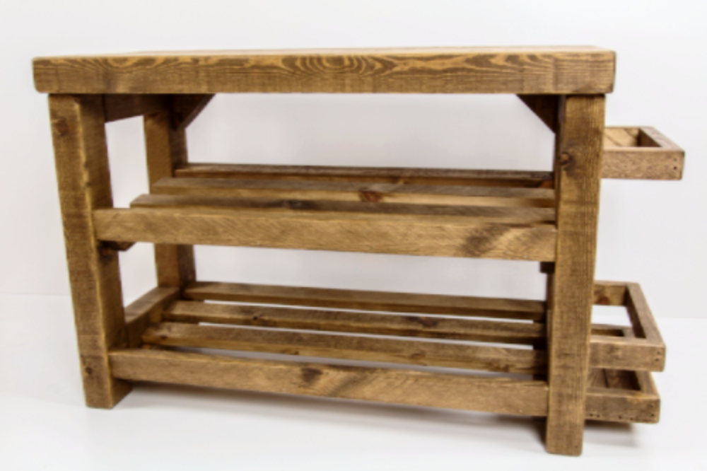 Rustic Wooden Shoe Rack With Seat And Umbrella Stand Up To